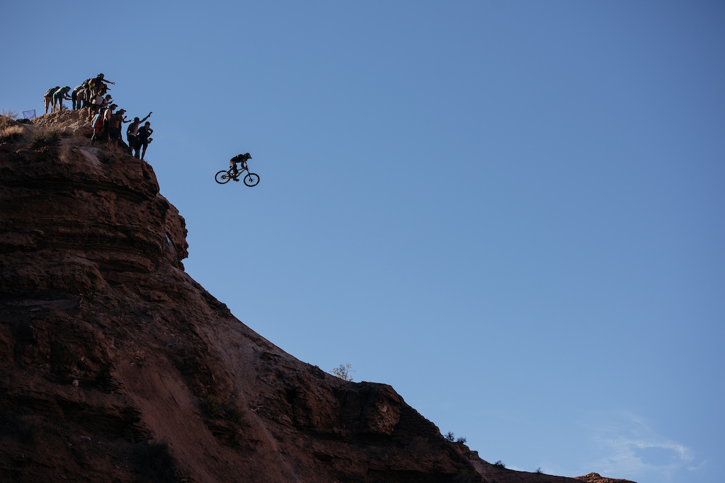 Tyler McCaul launching of his massive drop during Red Bull Rampage 2015