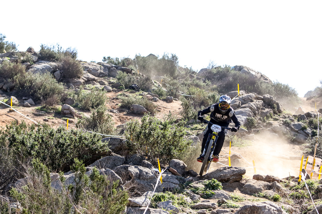 Sylvestri YT Industries Sensus was trying hard to keep up with team mate Aaron Gwin. Sylvestri chose the Capra which being a solid bike may have been the wrong choice for the technical sections that Fontana offered this weekend. He still managed to finish 8th.