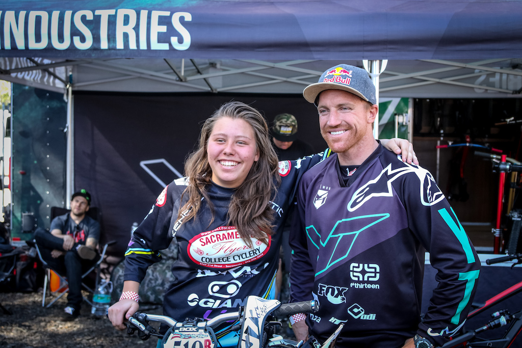Kingshill and Gwin pose together as the two pro winners for the round 4 DH race in Fontana.