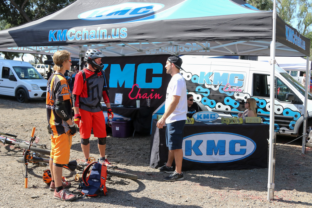 Racers checking in with the fine people at KMC Chains the title sponsor of the Winter Series put on by Southridge USA.