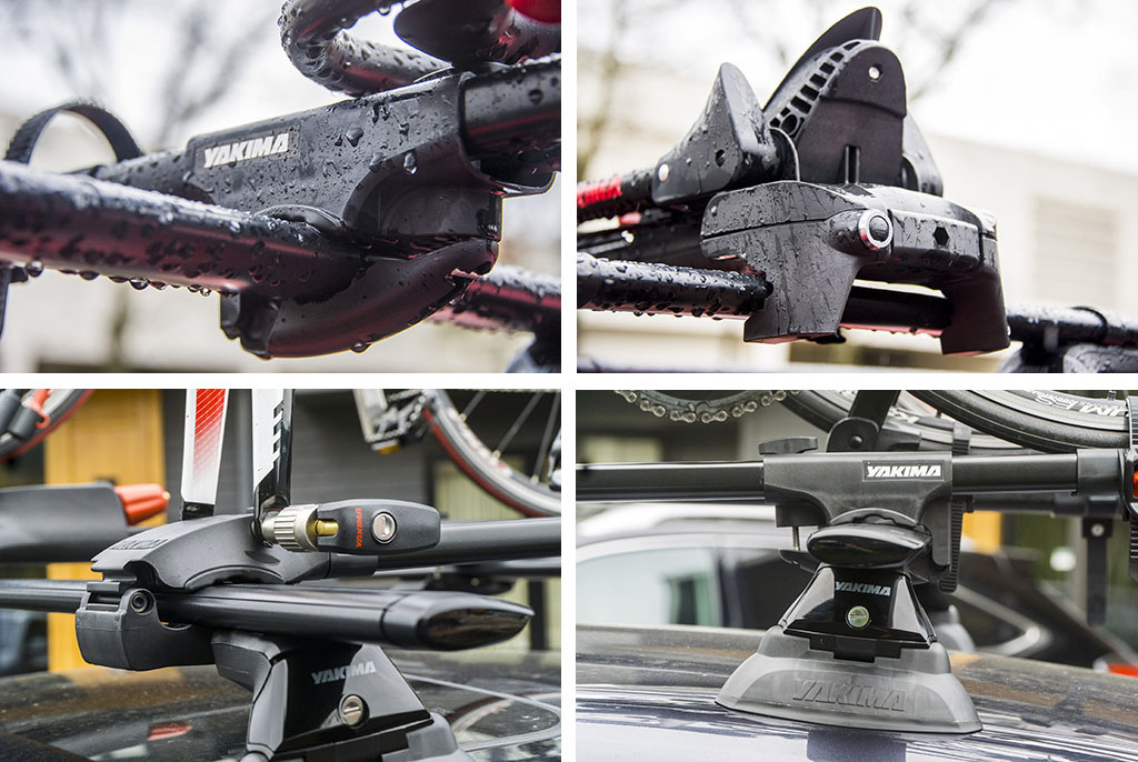 Not all rack accessories are getting the new T-mount system in some cases Yakima has called it good with a simple clamp that will work with not only the new aero shaped bars but also with the old round bars too.