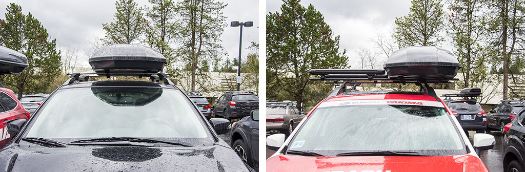 The new Showcase roof boxes are different from what Yakima has historically produced in the sense that rather than being similar lengths but wider as one goes from the smaller and mid-sized boxes to the carry a side of beef size monster boxes the Showcase cargo boxes feature a similar width but feature shorter legths. Pictured here are the Showcase 15 left and the Showcase 20 right . They differ in width by only an inch 36 inches for the Showcase 15 vs. 37 inches for the Showcase 20 but the Showcase 20 has an additional 11 inches of length and stands 17 imches high compared to the 14.5 inch heigth of the Showcase 15. Not seen here is the Showcase 12 which also features a 367 inch width. This keeps the streamlined look for the line but is wide enough that it does claim a fair bit of real estate on the roof top vs some of the older cargo box designs. Certainly one can remove the box when it s not in use but my experience is that once a box goes on the roof most users are loath to remove it regardless of how much that box on the roof cuts down on fuel economy.