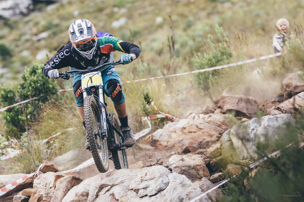 Stefan Garlicki navigates the rock garden on his way to victory in the first round of the 2016 Western Province Downhill series, held at Helderberg Trails just outside Somerset West, Cape Town