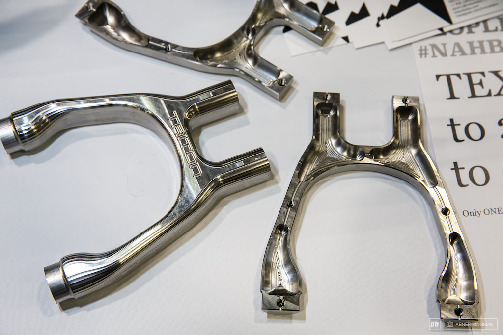 Triton Bikes of Russia had a hollow titanium yoke that is made by welding two machined halves together.