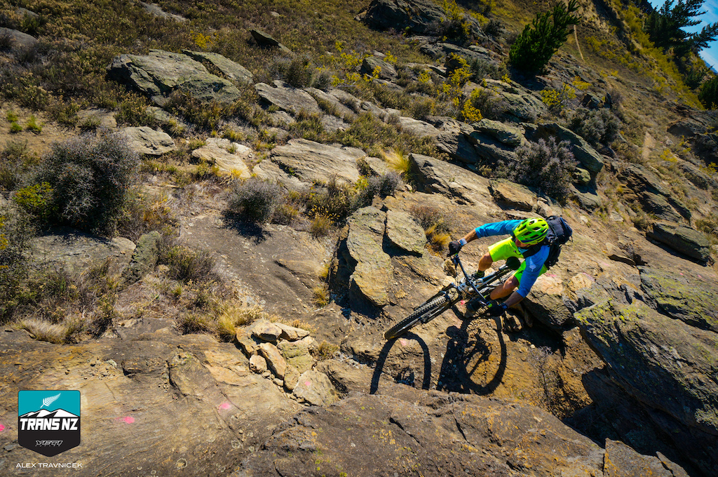 Riders had to take thyme to focus for the challenging slab rock terrain of Day 4 in Alexandra.