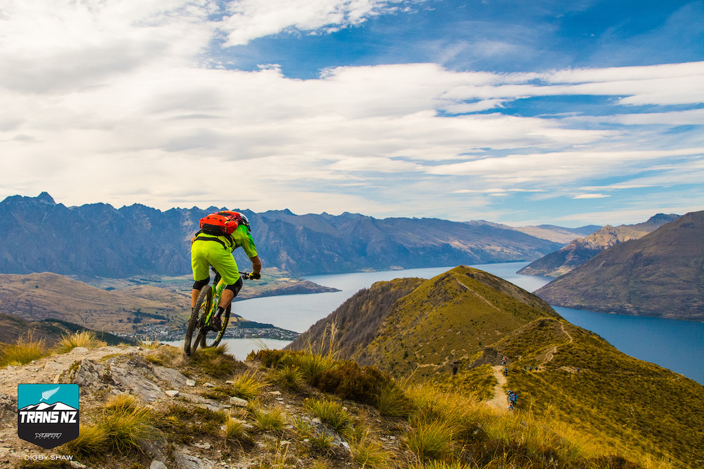 Looking down on Queenstown from High on the Ben Lomond ridge with the Remarkables in the background