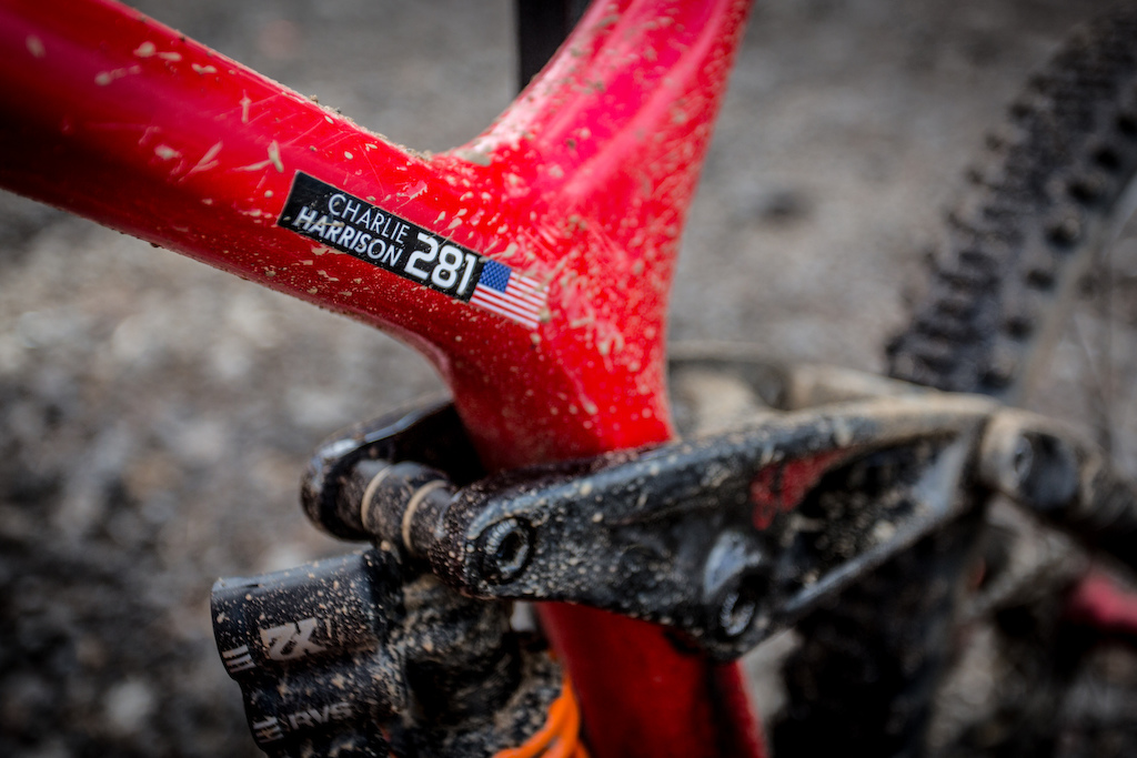 Charlie Harrison s bike was looking pretty worked from the mud and grime that collected on his first place run today.