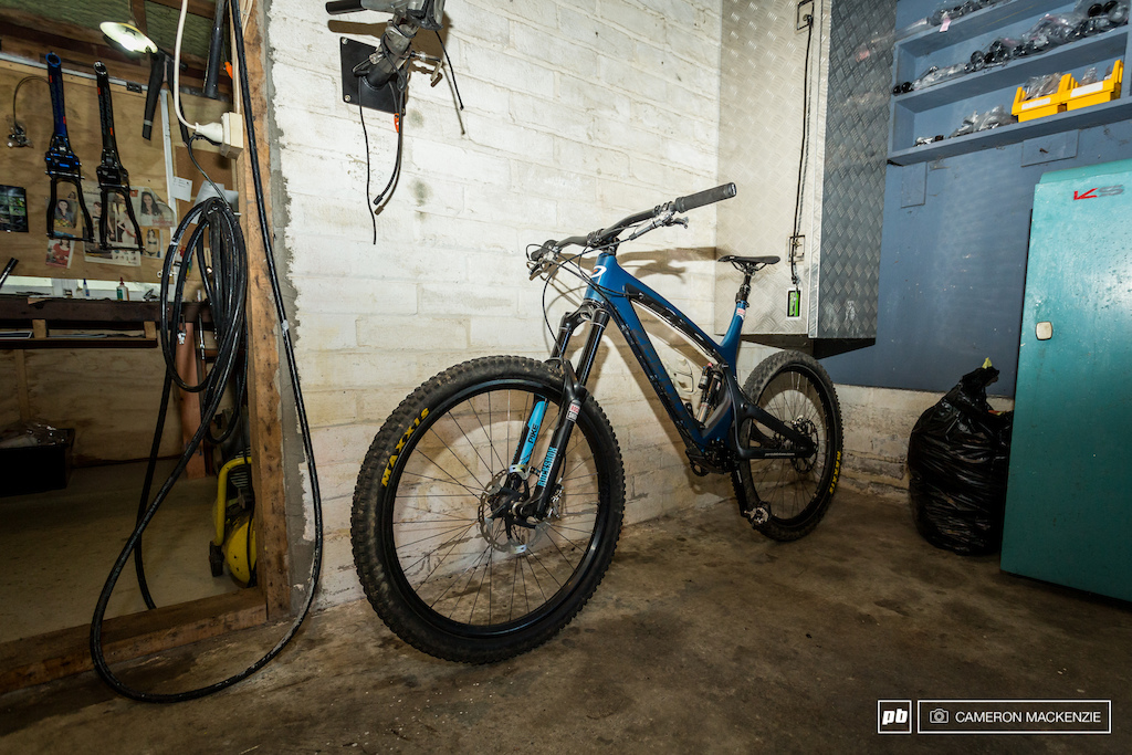 Robs original High Pivot Concept enduro bike. This is the one in which Rob built by hand in this shed