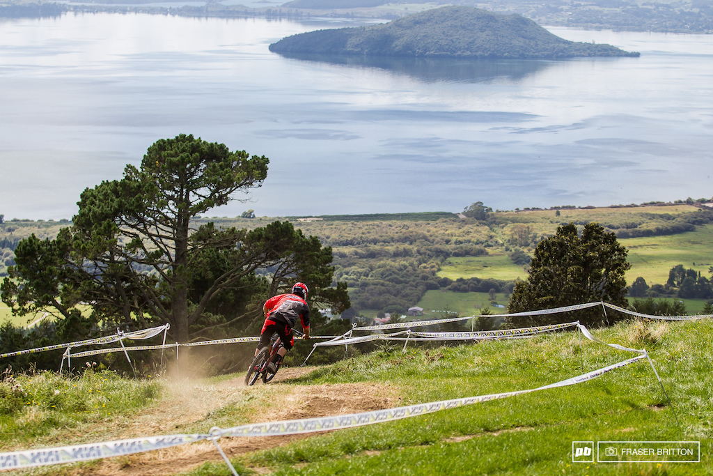 Coming into the day, local Kiwi Sam Blenkinsop was among the favourites for the win. Getting loose is what Blenki does, and he was hanging it out all over the place. With his Grandmother and Mom in attendance, he was out to show what he's got. Here he drops into the top of the track, with lake Rotorua in the distance.