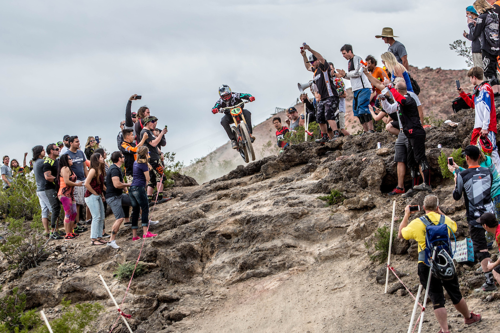 Aaron Gwin blew a tire right at the entrance to the final waterfall. He hucked it to flat literally and finished pedaling while the tire wrapped itself up. He would crash just a few yards before the finish and would still finish seven seconds faster than second place.