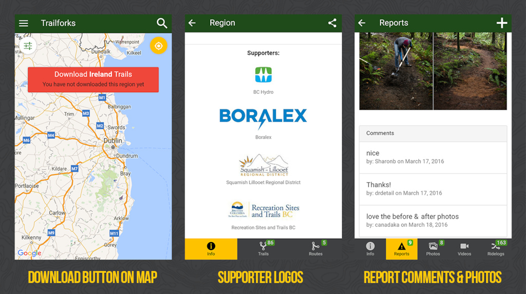 Trailforks app feature screenshots