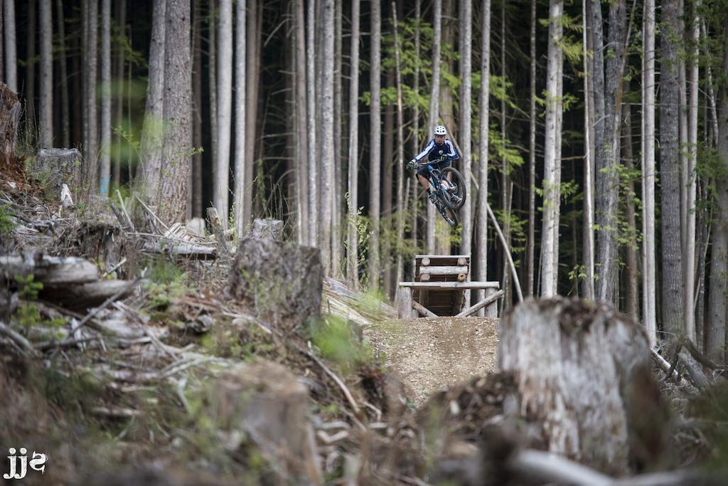 Jimmi breaking in the new bike on Shameless Self-Promotion in Squamish