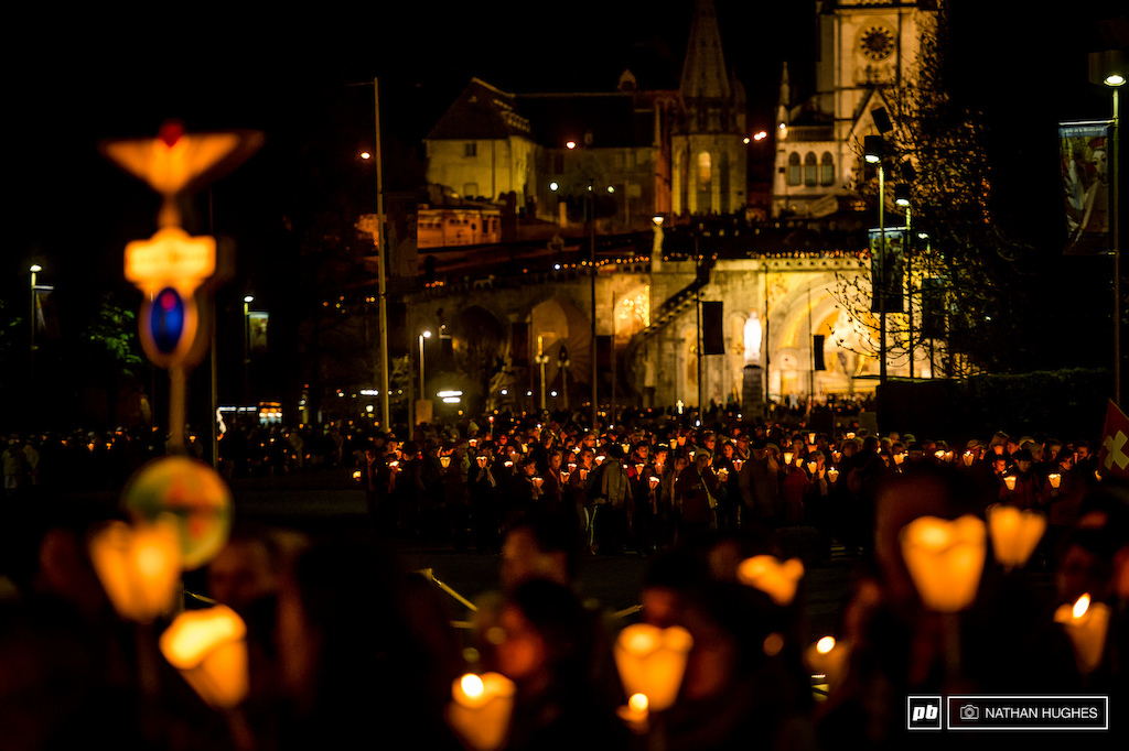 One of Lourdes famous candlelit processions... such enormous crowds and they happen every day.
