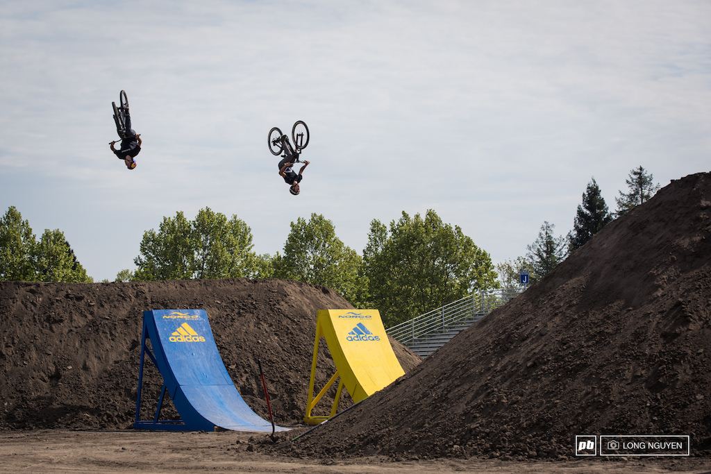 Carson Storch & Connor Gallart flipping the big jump after the drop. You should see plenty of big tricks being thrown here.