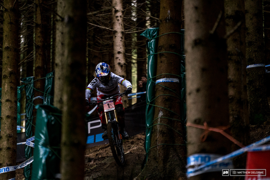 Rachel Atherton running to a second place qualifying today. The champ is no stranger to sloppy conditions like these, look for her to lay down the gauntlet tomorrow.