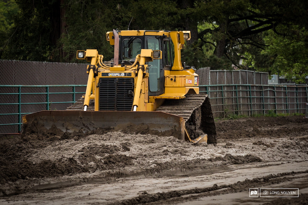 The big machines were clearing out the mud.