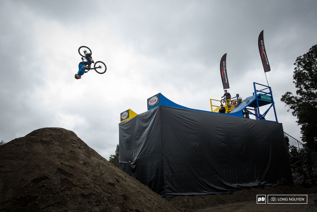 Greg Watts flipping off the drop during qualifying.