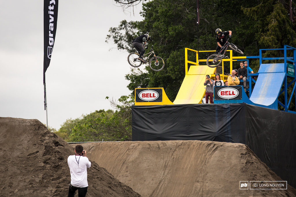 Ryan Nyquist vs Nicholi Rogatkin. Both riders know they have to lay down a solid run to advance to the next round.