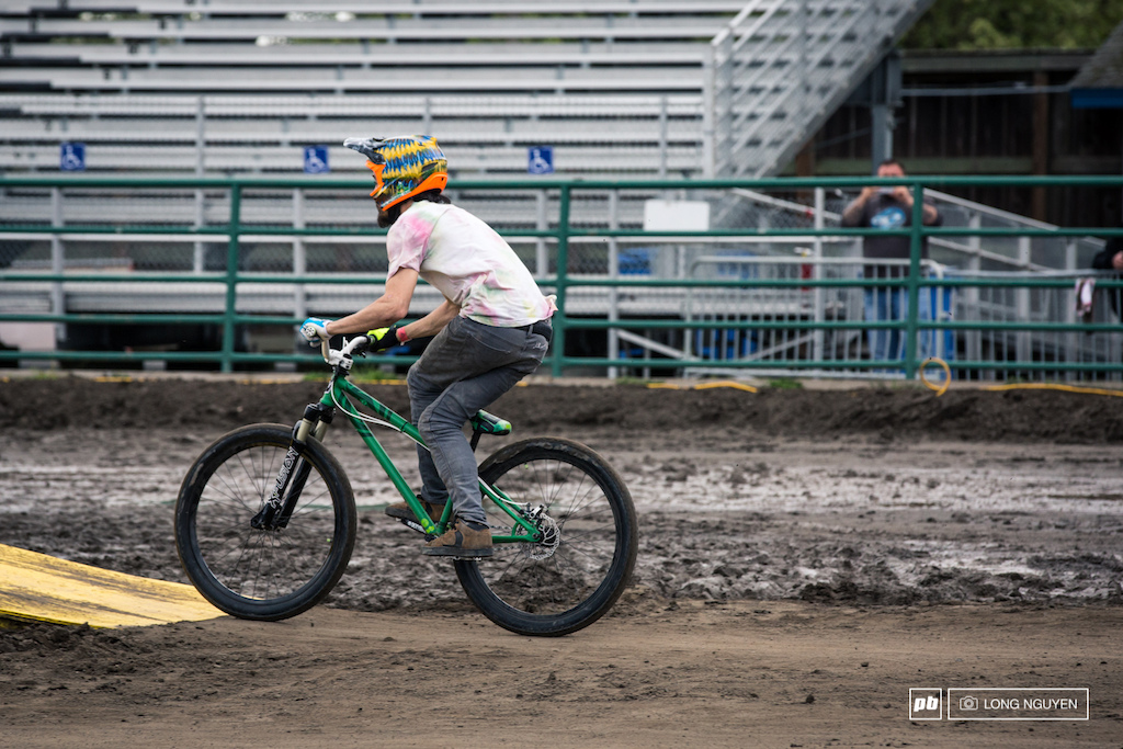 After the Showdown, the riders went into Best Trick. Steven Bafus was getting a little cross legged.
