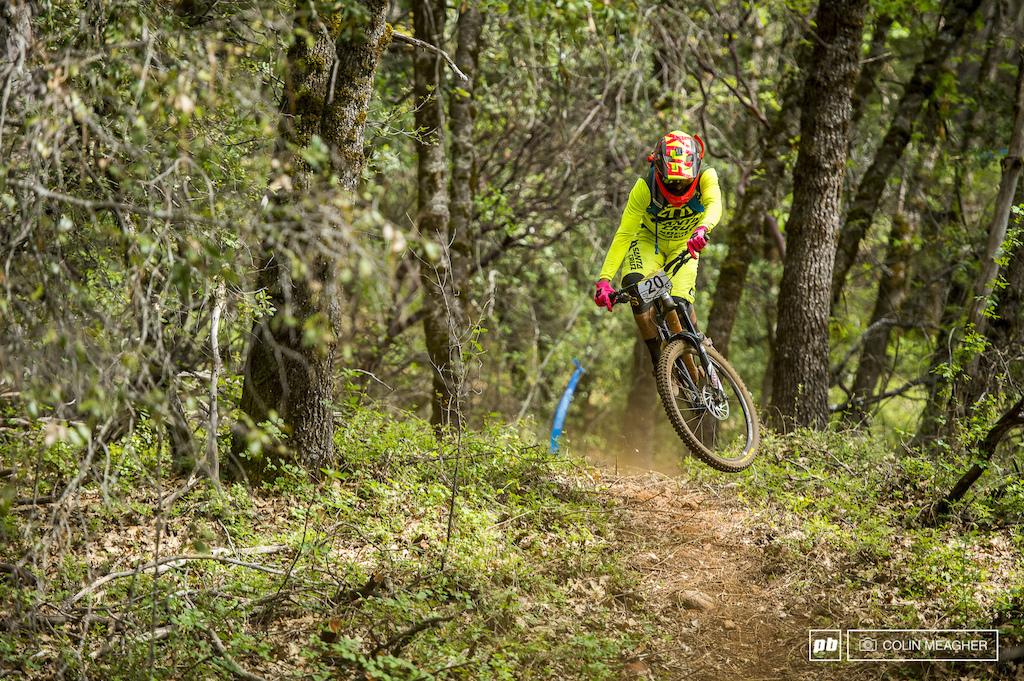 """Iago Garay drifting aloft on """"Oak Shaft"""" trail."""