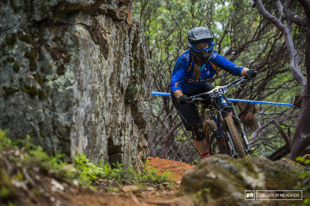 Amy Morrison edging past manzanitas and rocks on day one.