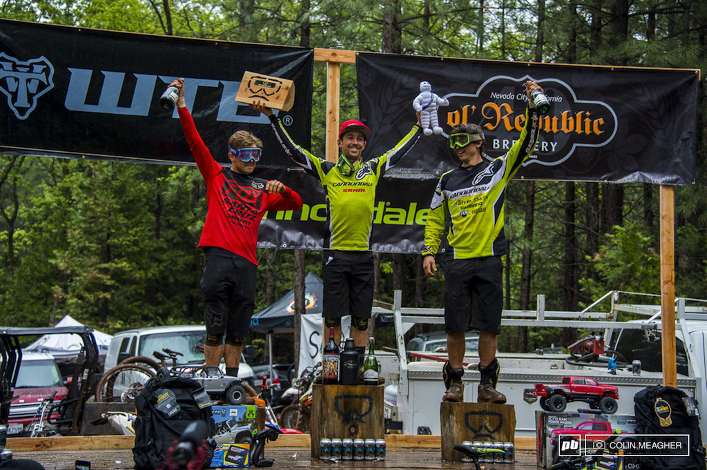 Men's winning podium: Mark Scott (3), Jerome Clementz (1), and Marco Osborne (2). It's crazy to think that after 30 minutes of racing, that less than a second separated Clementz and Osborne.