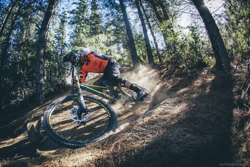 Johann Potgieter on his way to winning the third round of the 2016 Western Province Downhill series, held at Cascade Country Manor just outside Paarl, Western Cape. 10 April 2016