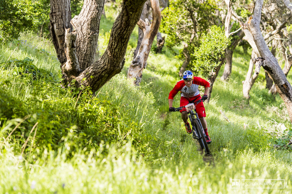 The American Dream looking to avoid the poison oak on stage 2 of the Sea Otter enduro.
