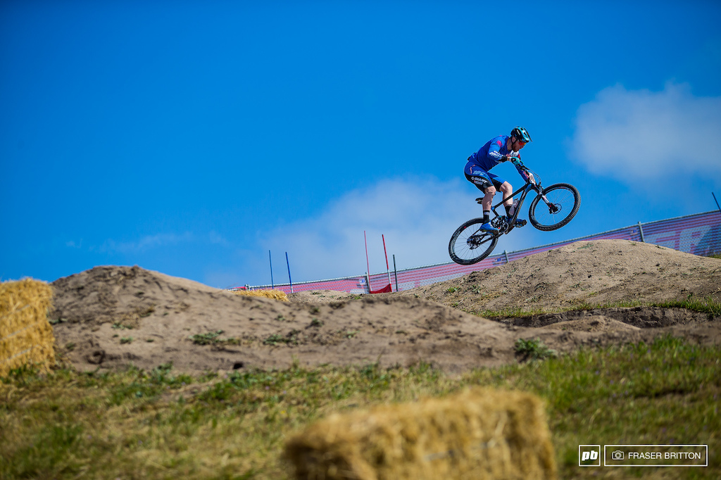 Josh Carlson doubling his way down the Dual Slalom course for stage 4 quite possibly the shortest enduro stage ever run.