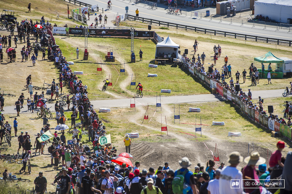 The view from the top. One of the cooles things about the Sea Otter DS track is that you can see the whole thing from anywhere alongside the track. As in Bubba Warren ekeing out a win early in the afternoon.