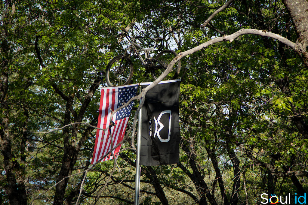 That Karpiel is the only bike to survive Mark Weir's house fire years ago and now it lives upon the TDS flag pole. - image by Kyle Nelson and Eli Libby of Soul id