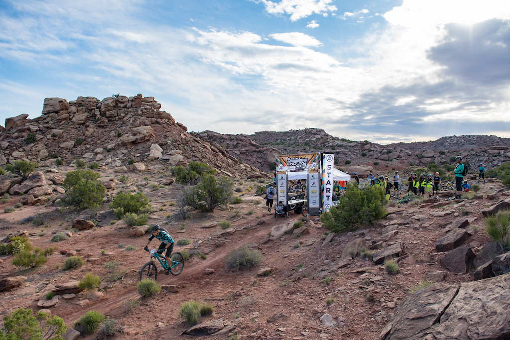 Stage one start of the SCOTT Enduro Cup in Moab. Trail UFO Rider Yeti pro Mike West