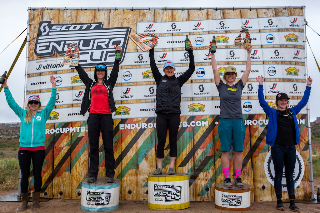 Women s Pro Open Podium SCOTT Enduro Cup presented by Vittoria May 7 2016 at Klondike Bluffs in Moab Utah. 1 KATIE COMPTON 00 24 12.336 2 TEAL STETSON-LEE 00 25 01.920 3 COOPER DENDEL 00 25 03.809 4 LIA WESTERMANN 00 25 55.088 5 ILEANA ANDERSON 00 25 58.099