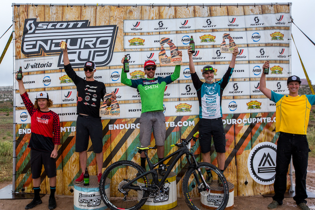 Men s Pro Open Podium SCOTT Enduro Cup presented by Vittoria May 7 2016 at Klondike Bluffs in Moab Utah. 1 Nate Hills 00 21 28.842 2 Macky Franklin 00 21 43.504 3 Michael West 00 21 54.334 4 Alex Petitdemange 00 21 54.740 5 Dylan Stucki 00 21 58.566