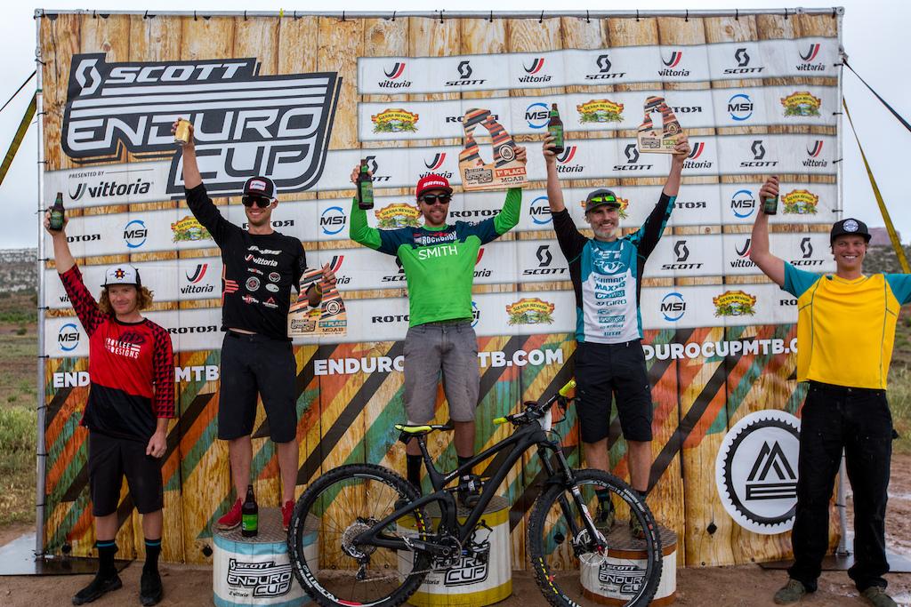 Men s Pro Open Podium SCOTT Enduro Cup presented by Vittoria May 7 2016 at Klondike Bluffs in Moab Utah. 1 Nate Hills 00 21 28.842 2 Macky Franklin 00 21 43.504 3 Michael West 00 21 54.334 4 Alex Petitdemange 00 21 54.740 5 Dylan Stucki 00 21 58.566