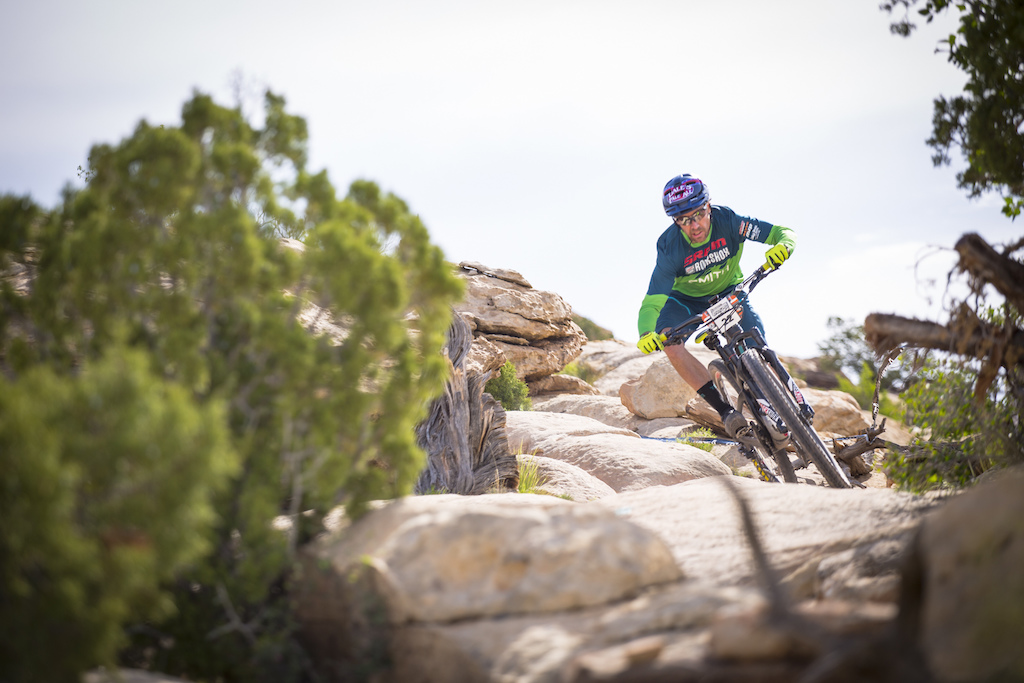 Yeti rider Nate Hills descending in Moab Utah at the first stop of the 2016 SCOTT Enduro Cup presented by Vittoria in Moab.