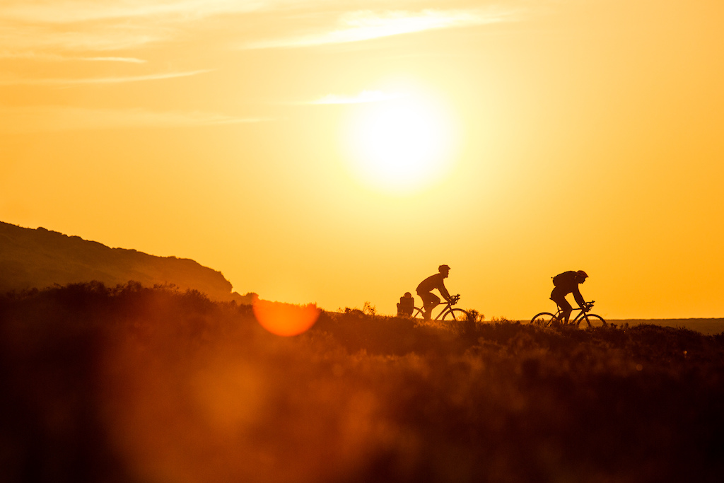 Cyclocrossing at sunset