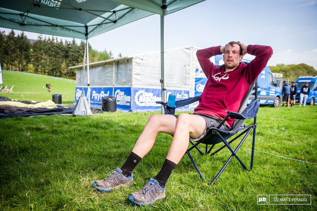 Gary Forrest was in a relaxed mode this morning. While his teammate hiked up the hill he opted to chill out and save his legs and energy.