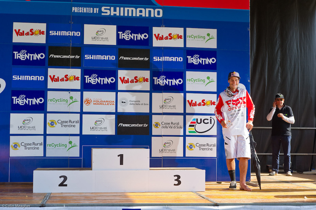 Steve on the podium for the WC overall at the World Cup finals in Val di Sole IT in 2011