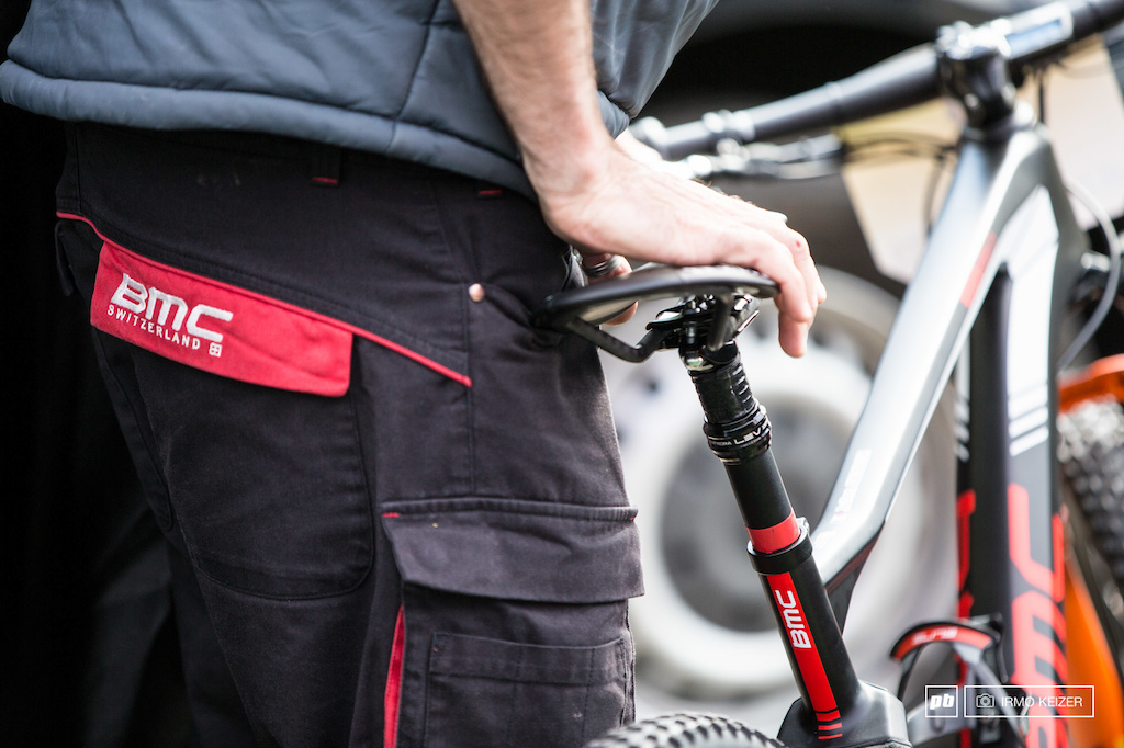 Ducttape stops the seatpost from fully dropping down. XC riders seem to be edging towards dropper posts but as grams are still being counted the key might be to go for a - 60mm drop with less added weight.