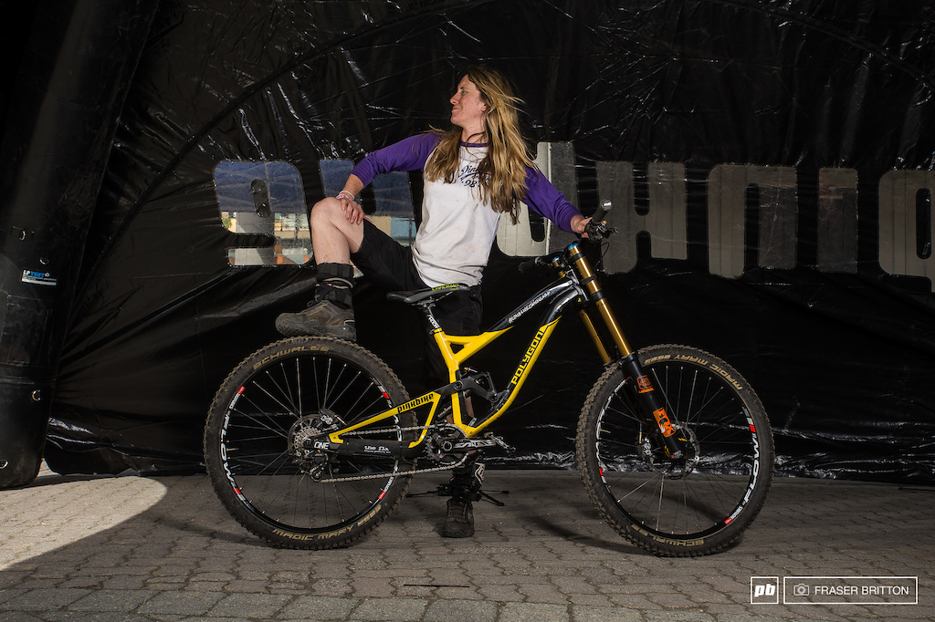 Pinkbike s own Rose with her Polygon DH9