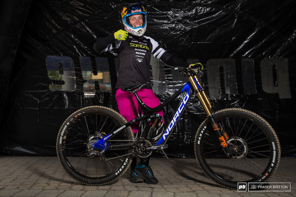 Jill Kintner was enjoying opening day on her custom blue Norco Aurum.