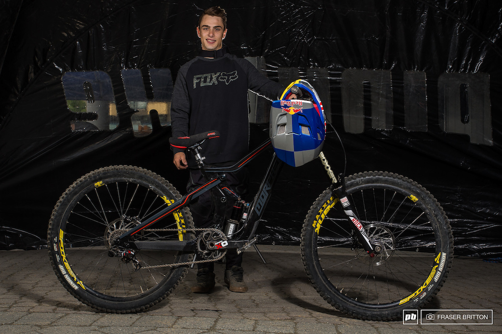 Surrey boy Anthony Meserre on his Morpheus Conspiracy DH bike. Is the bike really big or is Big Tony really small you decide