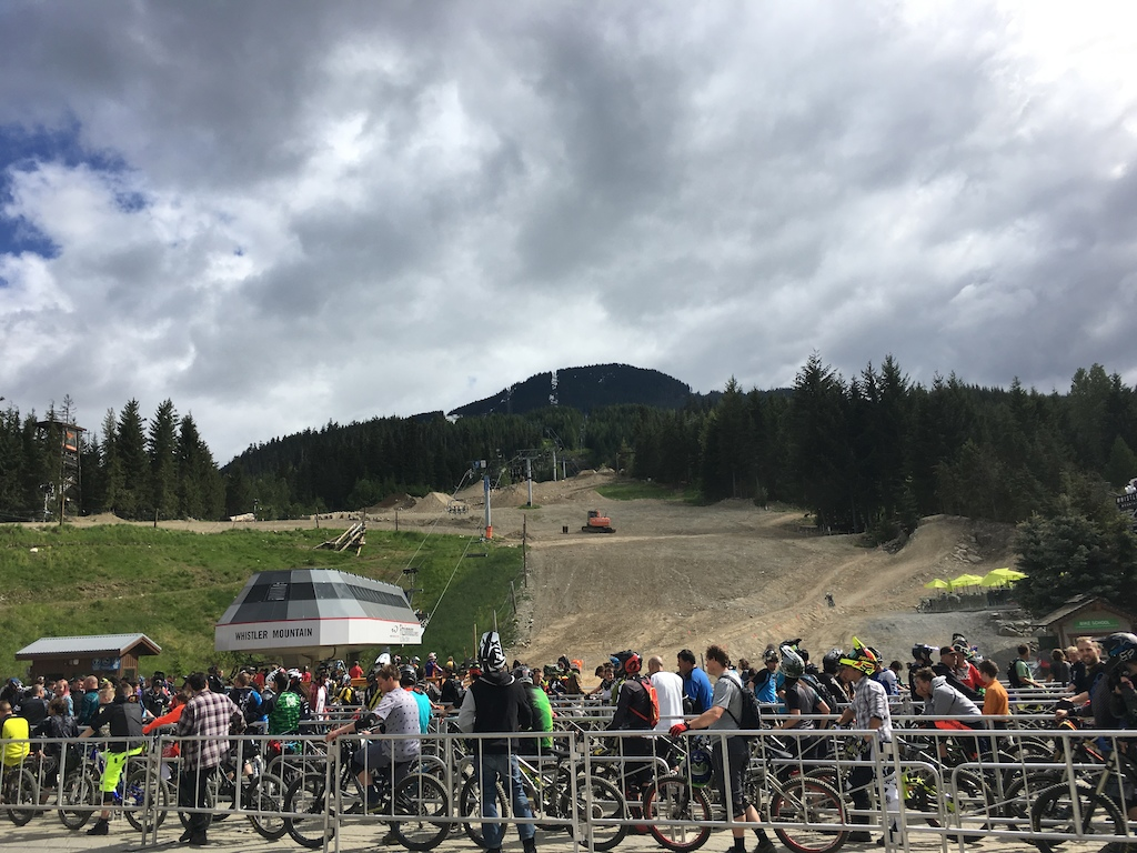 The 40 minute opening day light line was back under sunny skies. The dirt was tacky form overnight rain and the trails are in the best shape you ll see them all year so get down to the Whistler Bike Park and ride some bikes