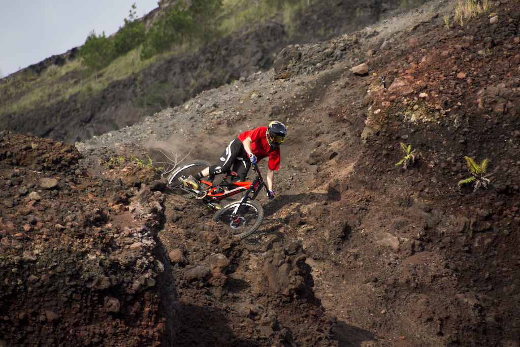 Kurt dropping a first descent into a crater