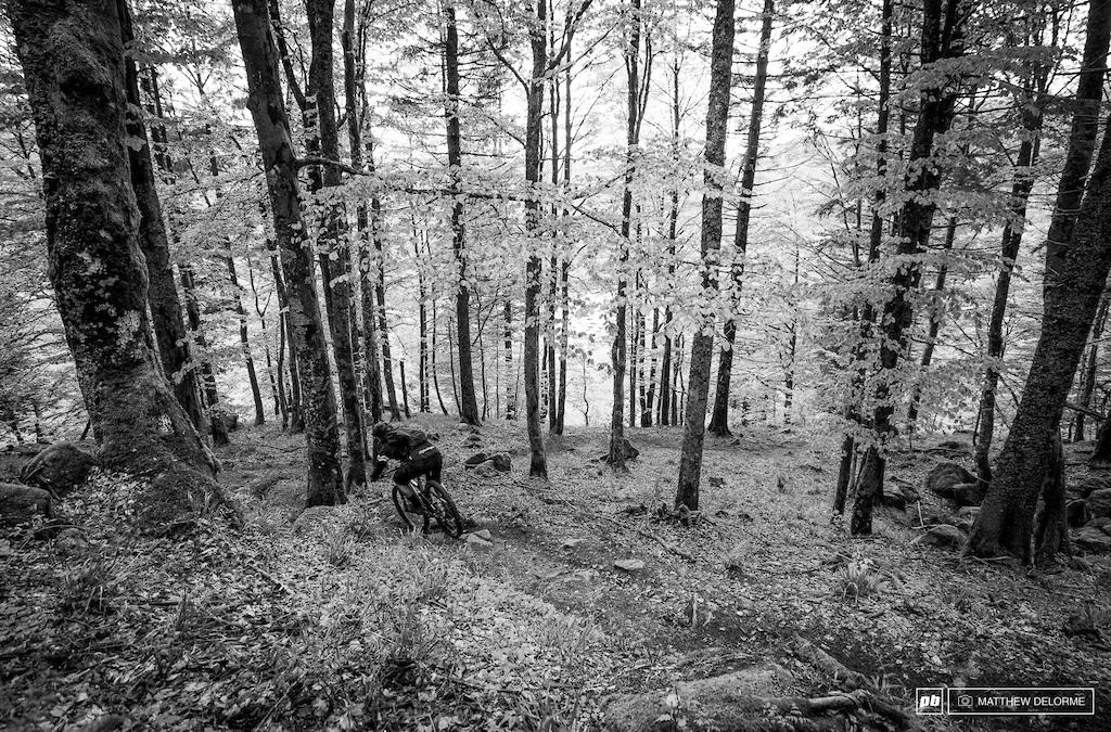 Slip sliding down the lovely Le Bresse single track.