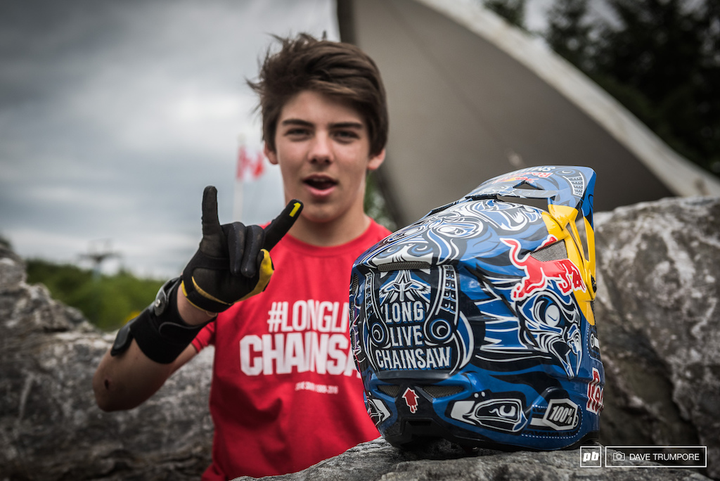 Red Bull made Finn Iles a replica of Steve Smith s helmet to pay tribute here in Fort William.