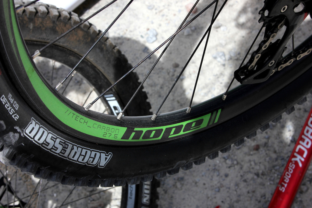 Hope s prototype HB211 bike was hanging up with some carbon rims laced to their custom 130mm rear hub.