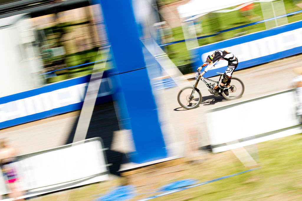 I blew the finish line pan shot of Aaron Gwin's winning run. This one with Blenki was my practicing shot.