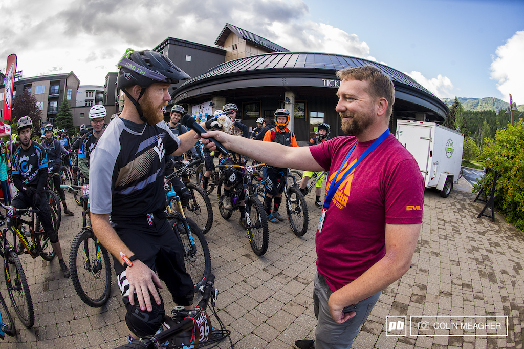Local Shimano Tech Rep and American Radness Evil Rider Tommy McGrath coyly giving fellow racers quality advice like go as hard as you can on the climb before the start of the first day s racing.